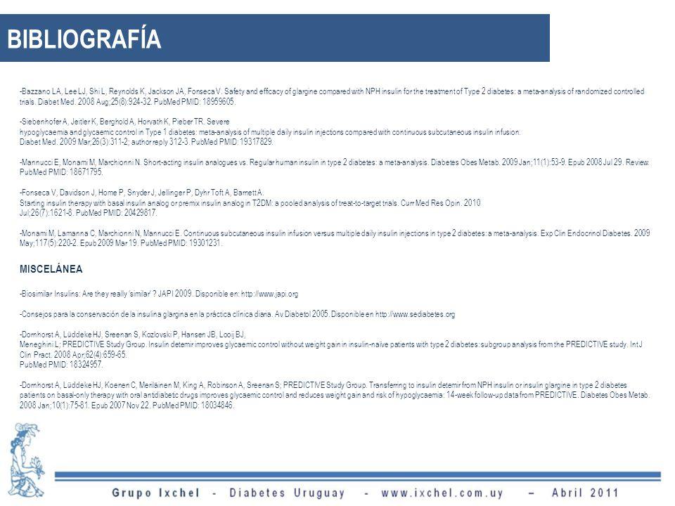 BIBLIOGRAFÍA -Bazzano LA, Lee LJ, Shi L, Reynolds K, Jackson JA, Fonseca V. Safety and efficacy of glargine compared with NPH insulin for the treatmen