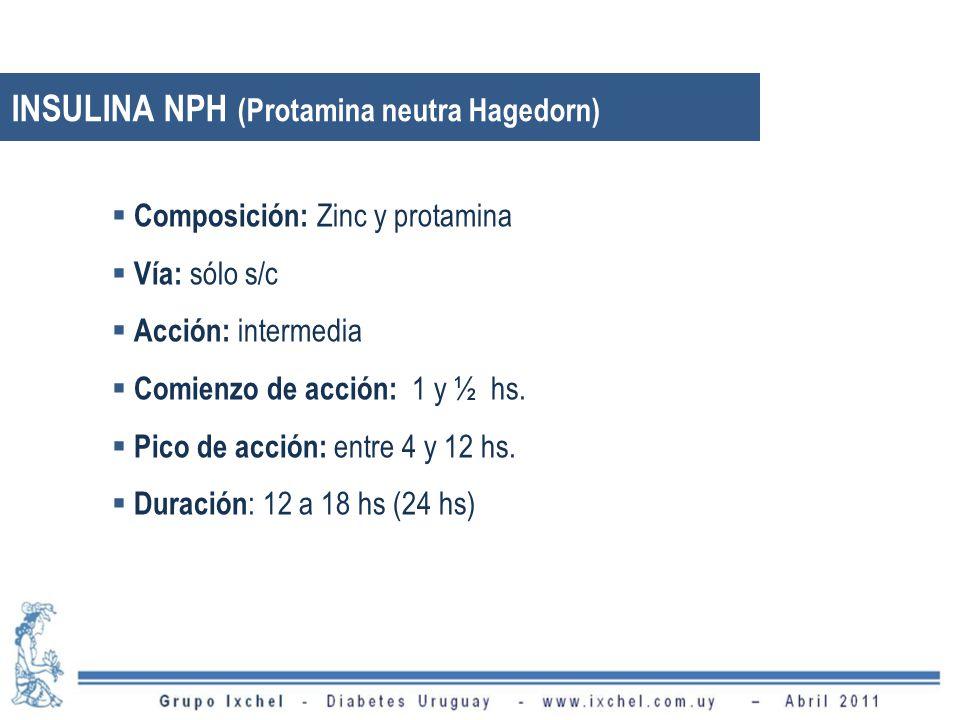 INSULINA NPH (Protamina neutra Hagedorn) Composición: Zinc y protamina Vía: sólo s/c Acción: intermedia Comienzo de acción: 1 y ½ hs.