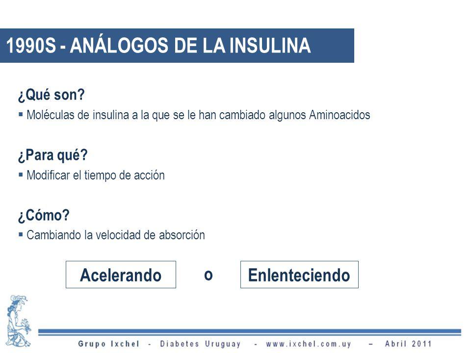 ¿Qué son? Moléculas de insulina a la que se le han cambiado algunos Aminoacidos ¿Para qué? Modificar el tiempo de acción ¿Cómo? Cambiando la velocidad
