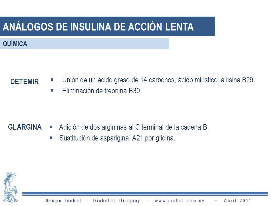 ANÁLOGOS DE INSULINA DE ACCIÓN LENTA Unión de un ácido graso de 14 carbonos, ácido miristico a lisina B29. Eliminación de treonina B30 DETEMIR GLARGIN