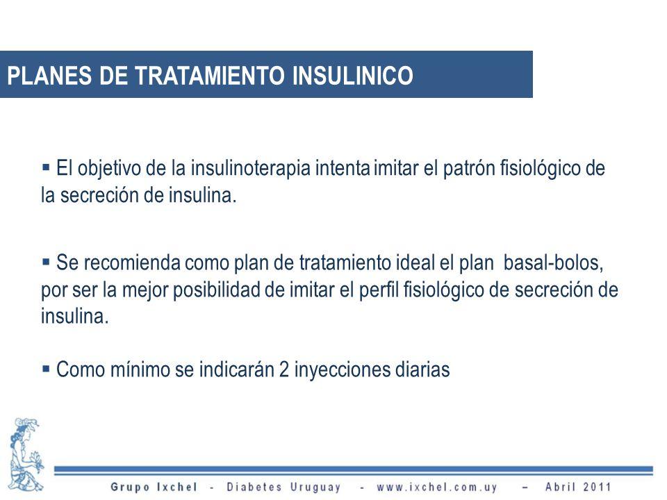PLANES DE TRATAMIENTO INSULINICO Se recomienda como plan de tratamiento ideal el plan basal-bolos, por ser la mejor posibilidad de imitar el perfil fisiológico de secreción de insulina.