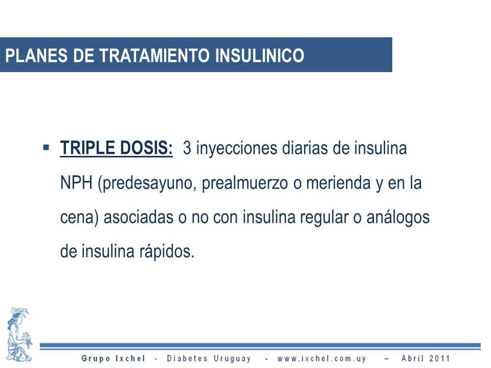 TRIPLE DOSIS: 3 inyecciones diarias de insulina NPH (predesayuno, prealmuerzo o merienda y en la cena) asociadas o no con insulina regular o análogos de insulina rápidos.