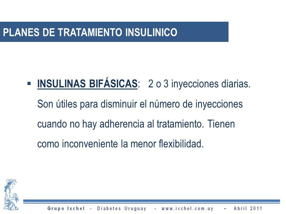 INSULINAS BIFÁSICAS : 2 o 3 inyecciones diarias. Son útiles para disminuir el número de inyecciones cuando no hay adherencia al tratamiento. Tienen co