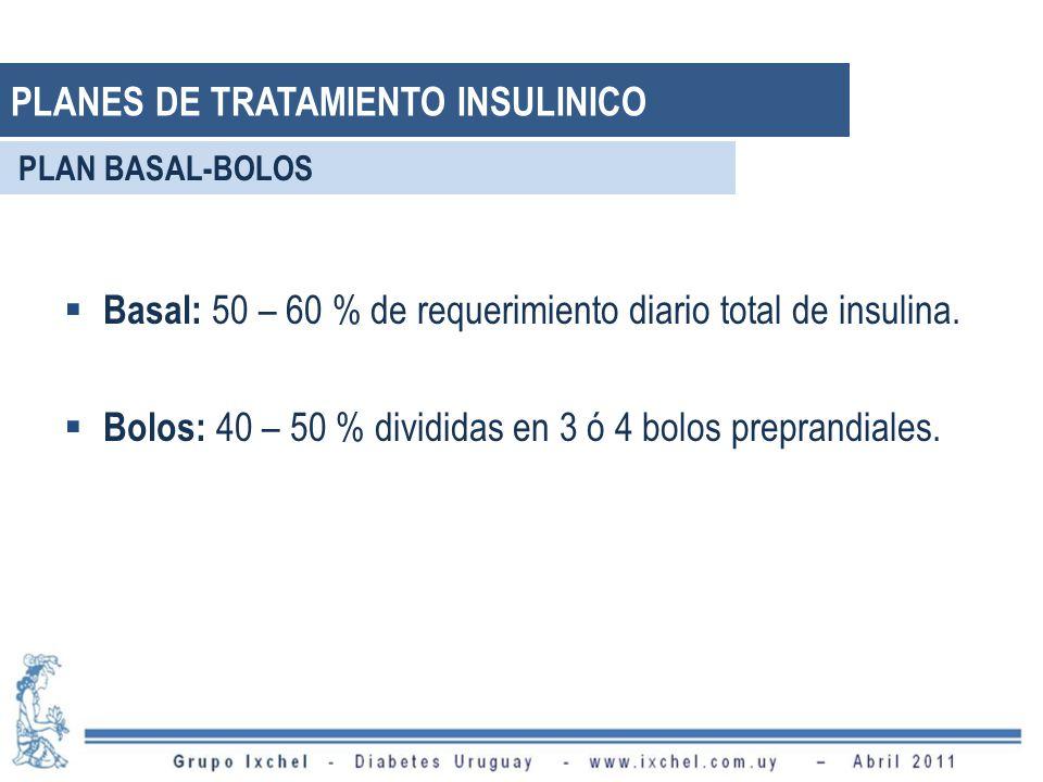 Basal: 50 – 60 % de requerimiento diario total de insulina. Bolos: 40 – 50 % divididas en 3 ó 4 bolos preprandiales. PLAN BASAL-BOLOS PLANES DE TRATAM