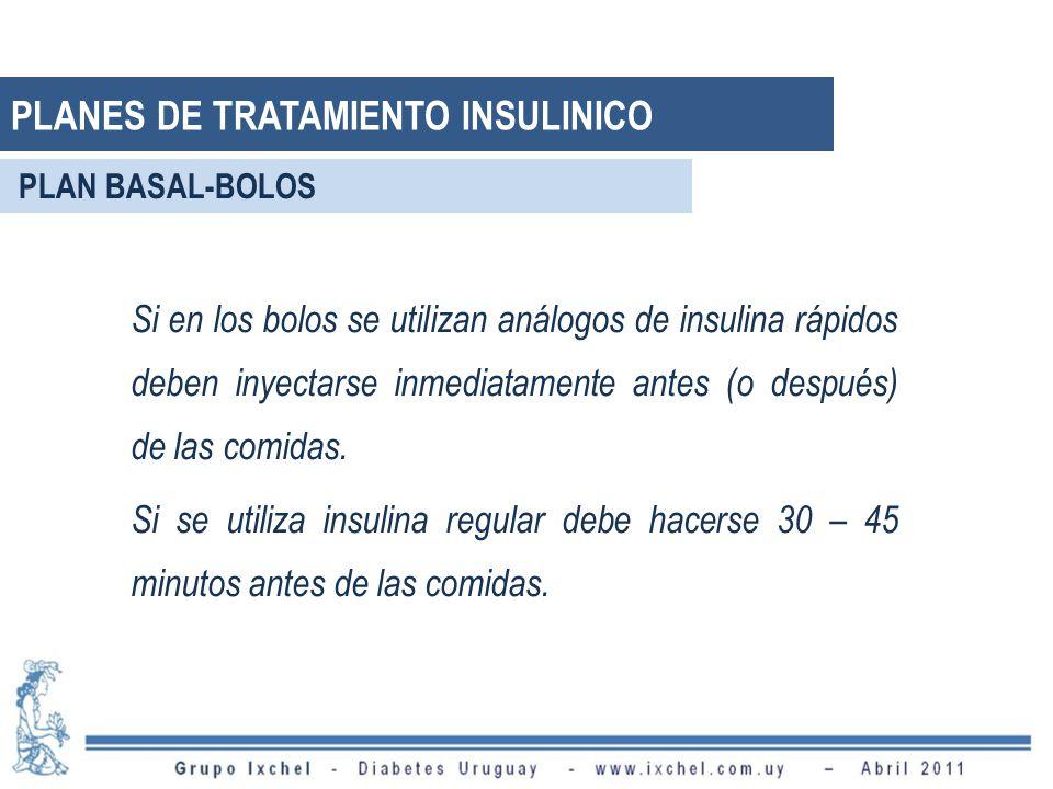 Si en los bolos se utilizan análogos de insulina rápidos deben inyectarse inmediatamente antes (o después) de las comidas. Si se utiliza insulina regu