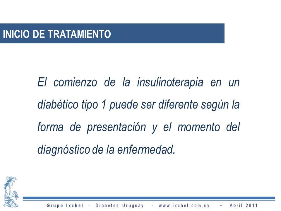 INICIO DE TRATAMIENTO El comienzo de la insulinoterapia en un diabético tipo 1 puede ser diferente según la forma de presentación y el momento del diagnóstico de la enfermedad.