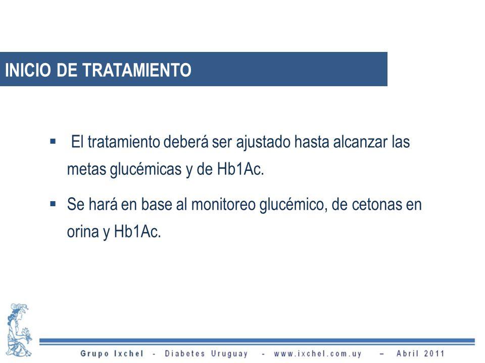 El tratamiento deberá ser ajustado hasta alcanzar las metas glucémicas y de Hb1Ac.