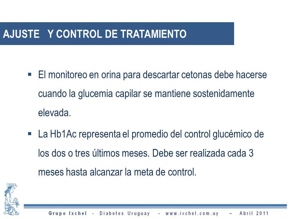 AJUSTE Y CONTROL DE TRATAMIENTO El monitoreo en orina para descartar cetonas debe hacerse cuando la glucemia capilar se mantiene sostenidamente elevada.