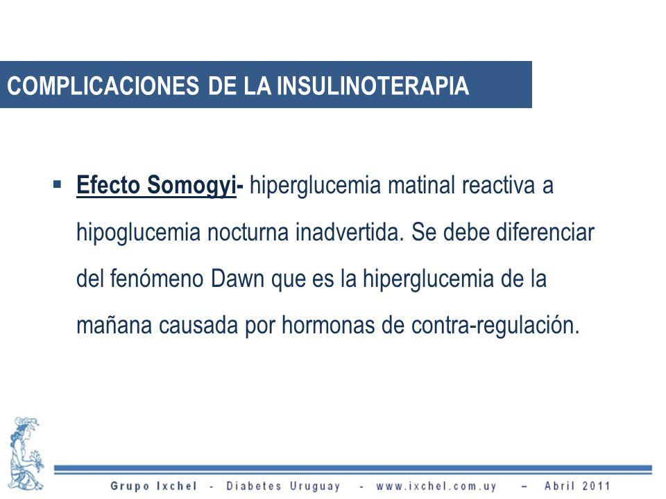 Efecto Somogyi- hiperglucemia matinal reactiva a hipoglucemia nocturna inadvertida. Se debe diferenciar del fenómeno Dawn que es la hiperglucemia de l