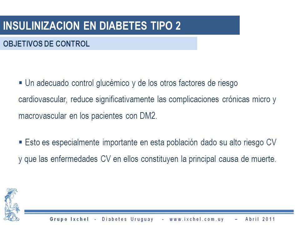 INSULINIZACION EN DIABETES TIPO 2 Un adecuado control glucémico y de los otros factores de riesgo cardiovascular, reduce significativamente las complicaciones crónicas micro y macrovascular en los pacientes con DM2.