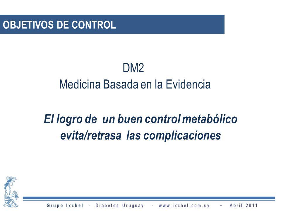 DM2 Medicina Basada en la Evidencia El logro de un buen control metabólico evita/retrasa las complicaciones UKPDS