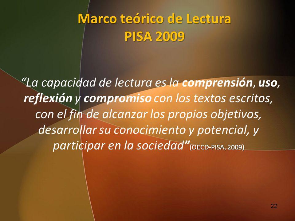 Marco teórico de Lectura PISA 2009 La capacidad de lectura es la comprensión, uso, reflexión y compromiso con los textos escritos, con el fin de alcan