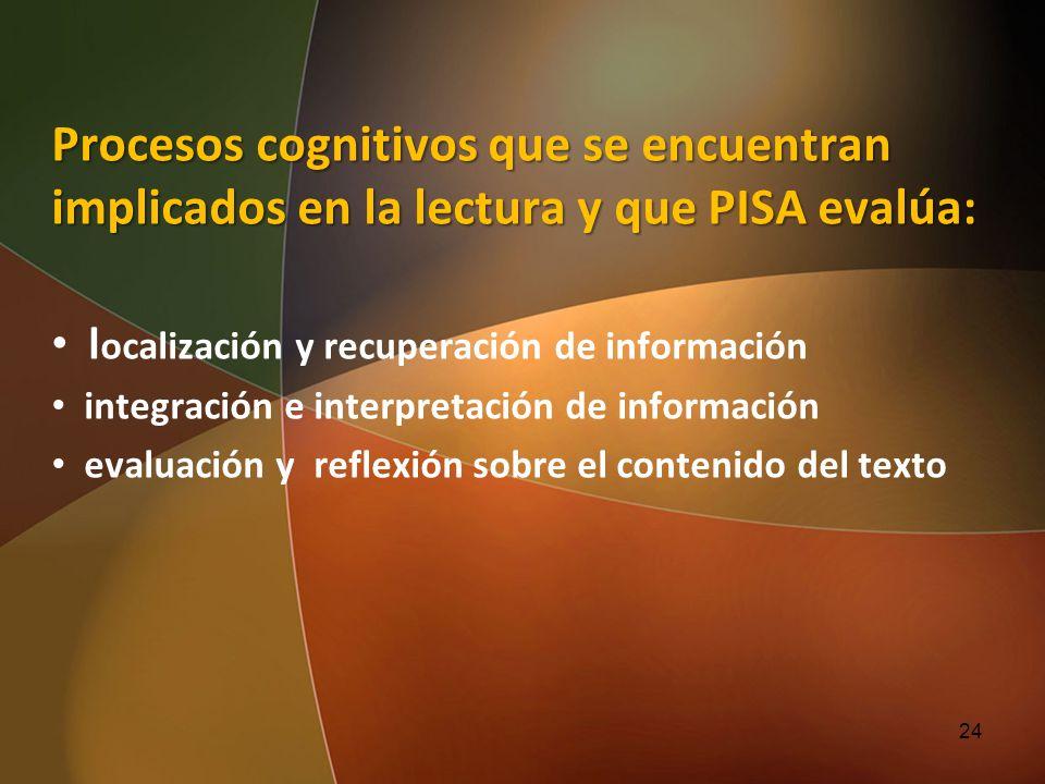 Procesos cognitivos que se encuentran implicados en la lectura y que PISA evalúa: l ocalización y recuperación de información integración e interpreta