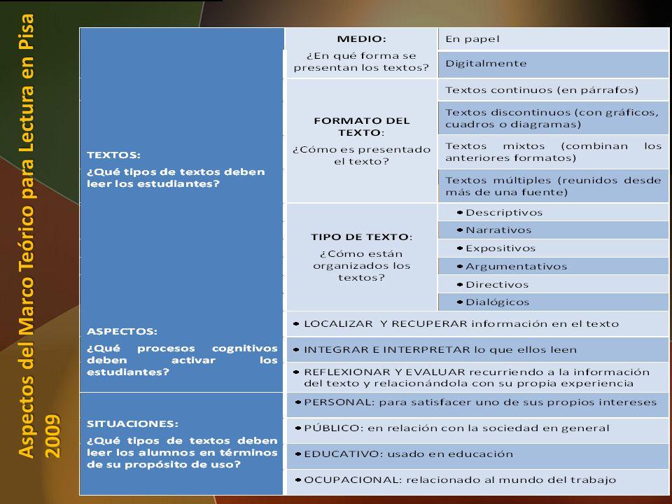 25 Aspectos del Marco Teórico para Lectura en Pisa 2009