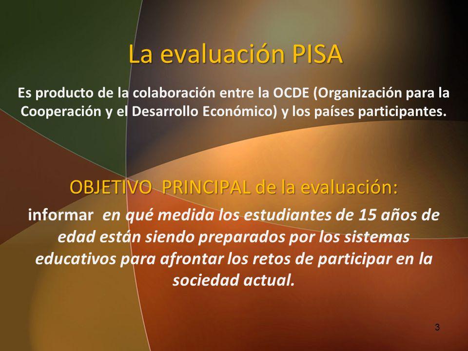 La evaluación PISA Es producto de la colaboración entre la OCDE (Organización para la Cooperación y el Desarrollo Económico) y los países participante
