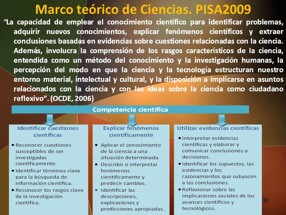 Marco teórico de Ciencias. PISA2009 La capacidad de emplear el conocimiento científico para identificar problemas, adquirir nuevos conocimientos, expl