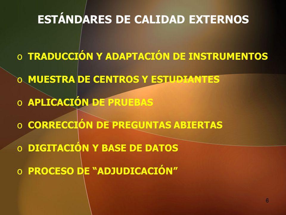 ESTÁNDARES DE CALIDAD EXTERNOS oTRADUCCIÓN Y ADAPTACIÓN DE INSTRUMENTOS oMUESTRA DE CENTROS Y ESTUDIANTES oAPLICACIÓN DE PRUEBAS oCORRECCIÓN DE PREGUN