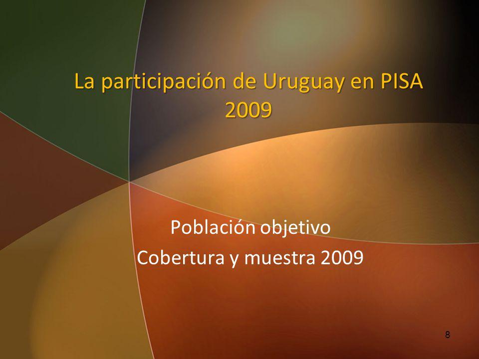 La participación de Uruguay en PISA 2009 Población objetivo Cobertura y muestra 2009 8