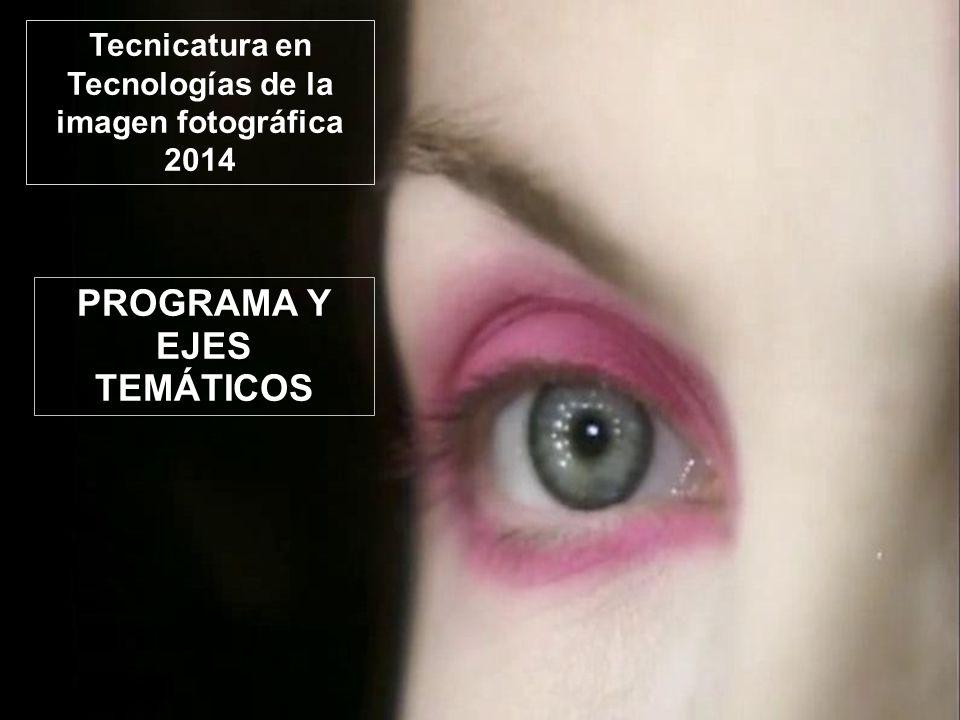 PROGRAMA Y EJES TEMÁTICOS Tecnicatura en Tecnologías de la imagen fotográfica 2014