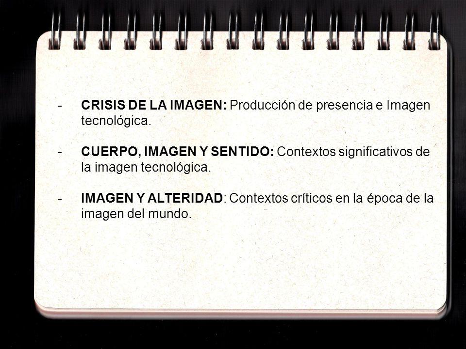 -CRISIS DE LA IMAGEN: Producción de presencia e Imagen tecnológica. -CUERPO, IMAGEN Y SENTIDO: Contextos significativos de la imagen tecnológica. - IM