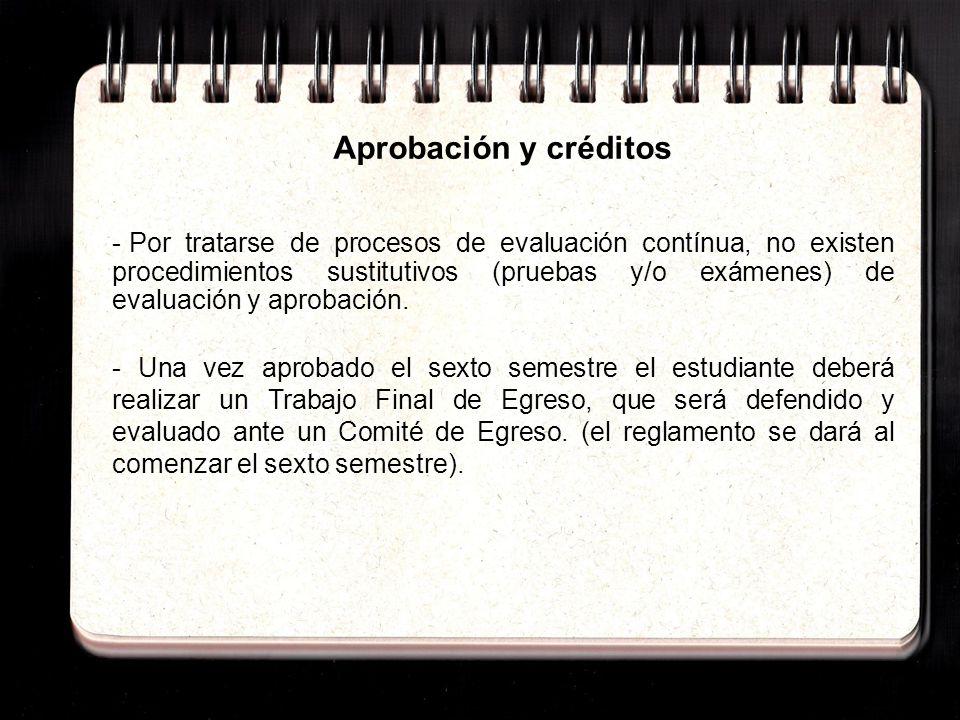 Aprobación y créditos - Por tratarse de procesos de evaluación contínua, no existen procedimientos sustitutivos (pruebas y/o exámenes) de evaluación y
