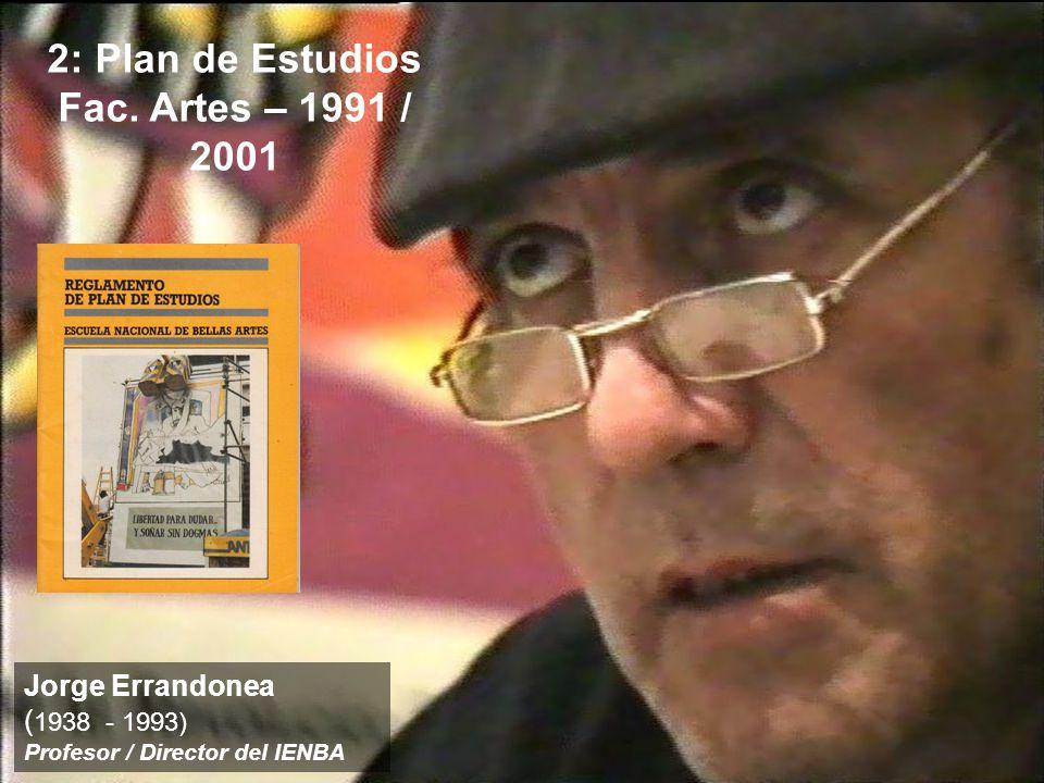 2: Plan de Estudios Fac. Artes – 1991 / 2001 Jorge Errandonea ( 1938 - 1993) Profesor / Director del IENBA