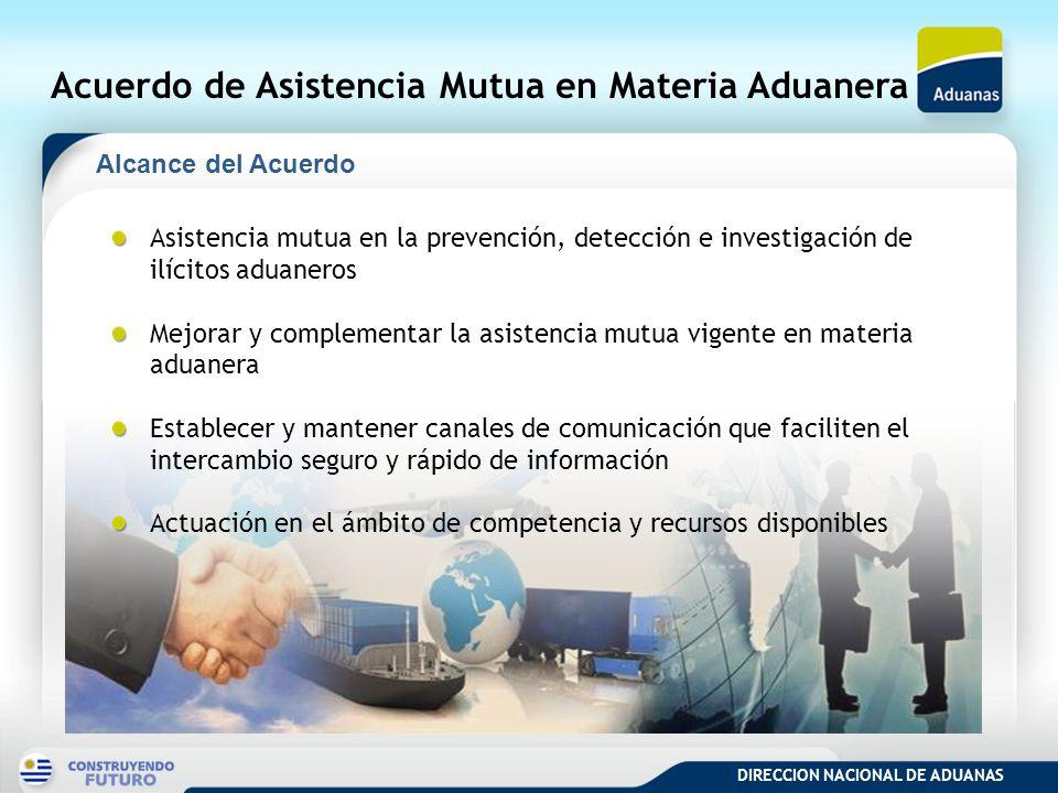DIRECCION NACIONAL DE ADUANAS Acuerdo de Asistencia Mutua en Materia Aduanera Asistencia mutua en la prevención, detección e investigación de ilícitos