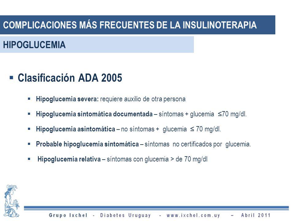 Clasificación ADA 2005 Hipoglucemia severa: requiere auxilio de otra persona Hipoglucemia sintomática documentada – síntomas + glucemia 70 mg/dl.