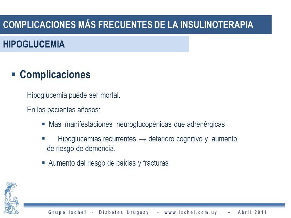 Complicaciones Hipoglucemia puede ser mortal.