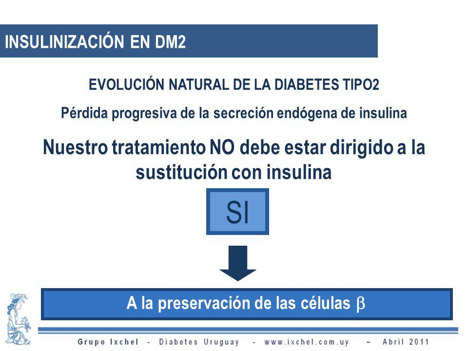 Nuestro tratamiento NO debe estar dirigido a la sustitución con insulina EVOLUCIÓN NATURAL DE LA DIABETES TIPO2 Pérdida progresiva de la secreción endógena de insulina A la preservación de las células SI INSULINIZACIÓN EN DM2