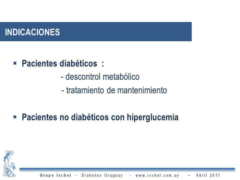 Pacientes diabéticos : - descontrol metabólico - tratamiento de mantenimiento Pacientes no diabéticos con hiperglucemia INDICACIONES