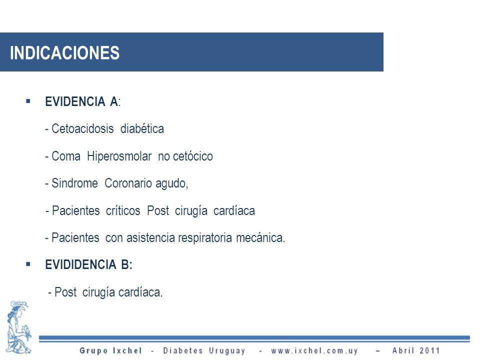 EVIDENCIA A : - Cetoacidosis diabética - Coma Hiperosmolar no cetócico - Sindrome Coronario agudo, - Pacientes críticos Post cirugía cardíaca - Pacientes con asistencia respiratoria mecánica.