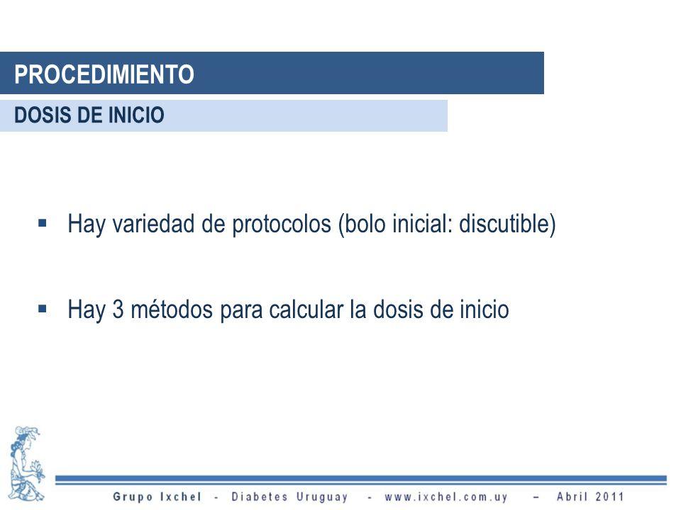 Hay variedad de protocolos (bolo inicial: discutible) Hay 3 métodos para calcular la dosis de inicio DOSIS DE INICIO PROCEDIMIENTO