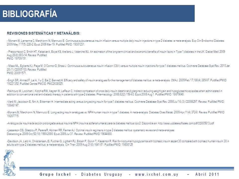 BIBLIOGRAFÍA REVISIONES SISTEMÁTICAS Y METANÁLISIS: - Monami M, Lamanna C, Marchionni N, Mannucci E.