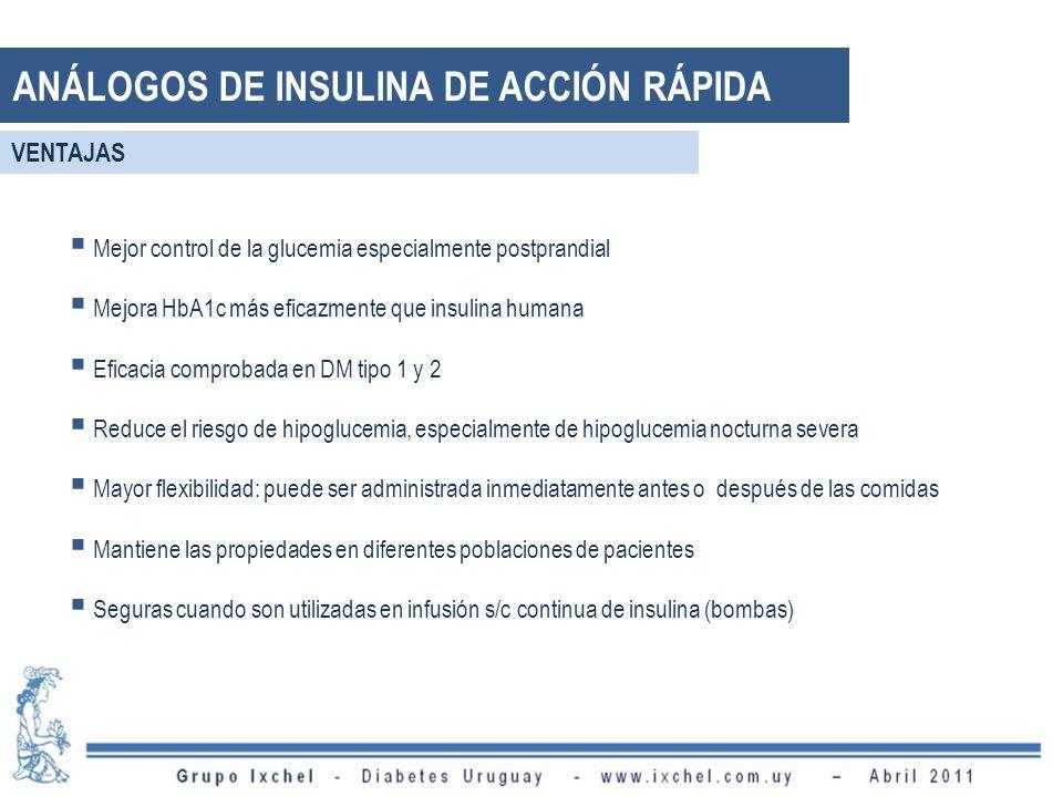 Mejor control de la glucemia especialmente postprandial Mejora HbA1c más eficazmente que insulina humana Eficacia comprobada en DM tipo 1 y 2 Reduce el riesgo de hipoglucemia, especialmente de hipoglucemia nocturna severa Mayor flexibilidad: puede ser administrada inmediatamente antes o después de las comidas Mantiene las propiedades en diferentes poblaciones de pacientes Seguras cuando son utilizadas en infusión s/c continua de insulina (bombas) ANÁLOGOS DE INSULINA DE ACCIÓN RÁPIDA VENTAJAS