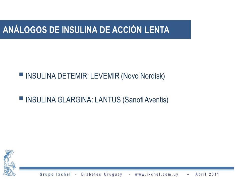 ANÁLOGOS DE INSULINA DE ACCIÓN LENTA INSULINA DETEMIR: LEVEMIR (Novo Nordisk) INSULINA GLARGINA: LANTUS (Sanofi Aventis)