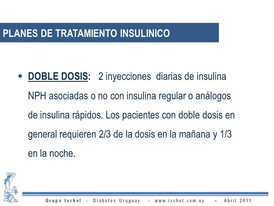 DOBLE DOSIS: 2 inyecciones diarias de insulina NPH asociadas o no con insulina regular o análogos de insulina rápidos.