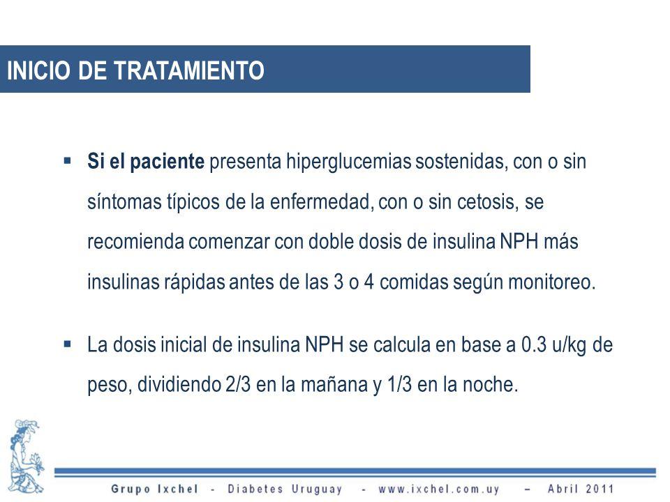 Si el paciente presenta hiperglucemias sostenidas, con o sin síntomas típicos de la enfermedad, con o sin cetosis, se recomienda comenzar con doble dosis de insulina NPH más insulinas rápidas antes de las 3 o 4 comidas según monitoreo.