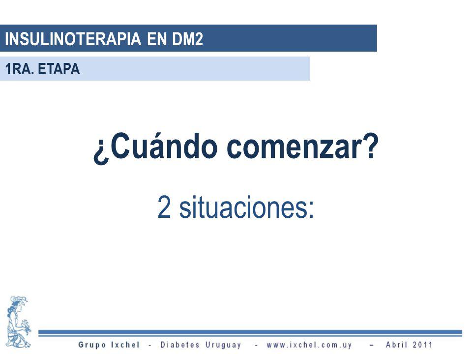 INSULINOTERAPIA EN DM2 ¿Cuándo comenzar? 2 situaciones: 1RA. ETAPA