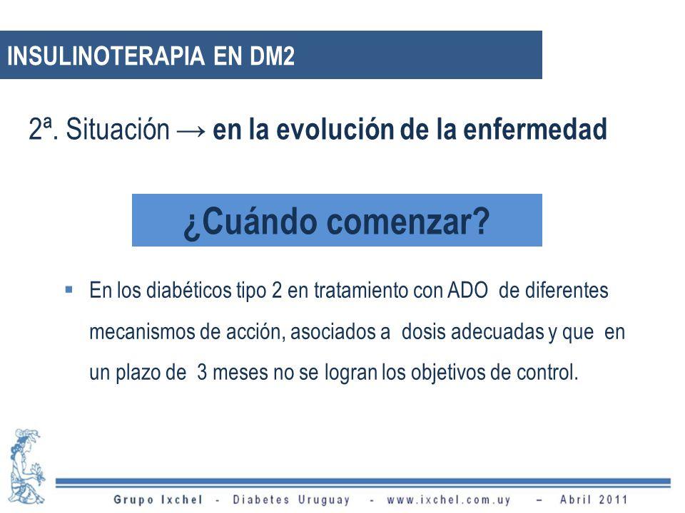 INSULINOTERAPIA EN DM2 En los diabéticos tipo 2 en tratamiento con ADO de diferentes mecanismos de acción, asociados a dosis adecuadas y que en un plazo de 3 meses no se logran los objetivos de control.