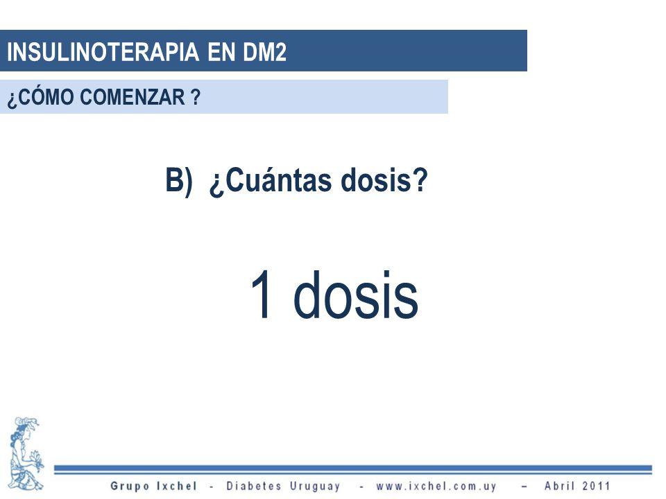 B) ¿Cuántas dosis? 1 dosis INSULINOTERAPIA EN DM2 ¿CÓMO COMENZAR ?