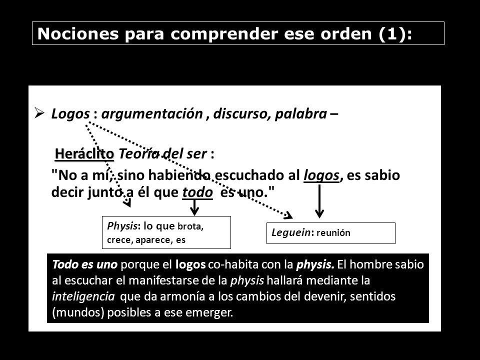 Nociones para comprender ese orden (1): Logos : argumentación, discurso, palabra – Heráclito Heráclito Teoría del ser :