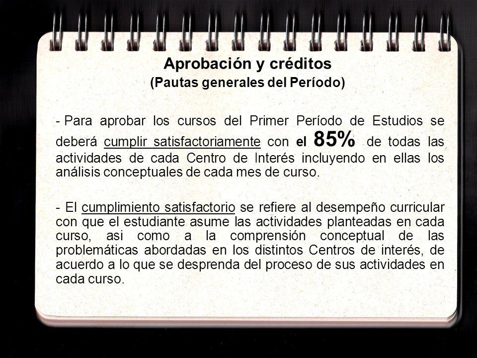 Aprobación y créditos (Pautas específicas) - La aprobación del Seminario-taller de las Estéticas se produce mediante la obtención de los 55 créditos correspondientes al mismo.