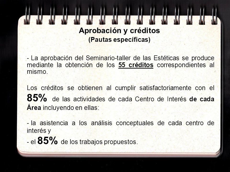Aprobación y créditos (Pautas específicas) - Tal y como lo establece el Plan de Estudios ningún procedimiento puede sustituir la presencialidad y actividad en cada curso.