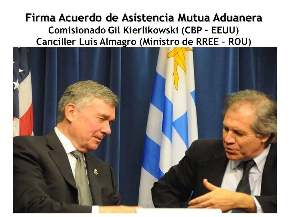 Firma Acuerdo de Asistencia Mutua Aduanera Firma Acuerdo de Asistencia Mutua Aduanera Comisionado Gil Kierlikowski (CBP - EEUU) Canciller Luis Almagro (Ministro de RREE – ROU)