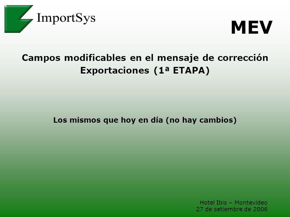 Hotel Ibis – Montevideo 27 de setiembre de 2006 MEV Campos modificables en el mensaje de corrección Exportaciones (1ª ETAPA) Los mismos que hoy en día