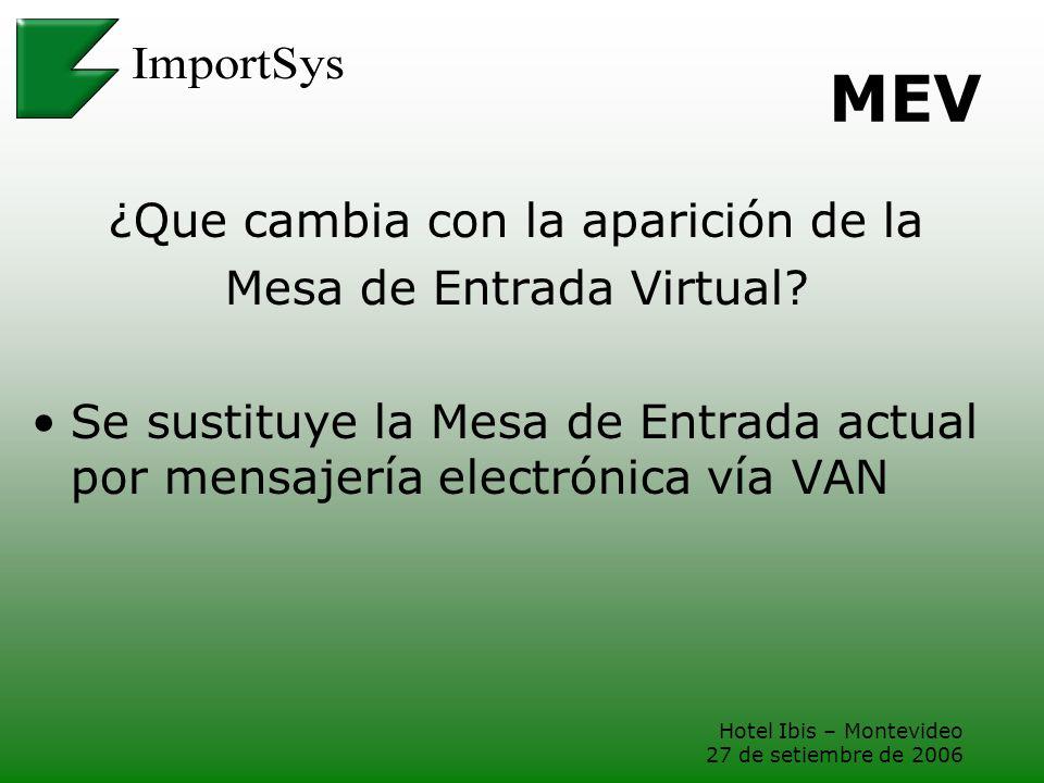 Hotel Ibis – Montevideo 27 de setiembre de 2006 MEV ¿Que cambia con la aparición de la Mesa de Entrada Virtual? Se sustituye la Mesa de Entrada actual