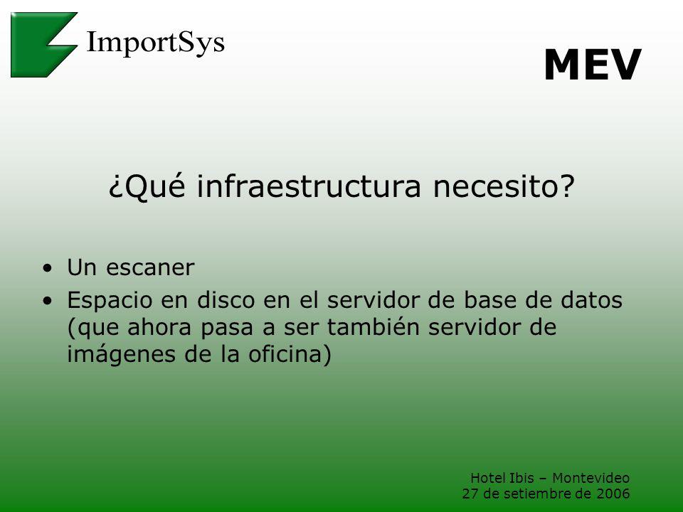 Hotel Ibis – Montevideo 27 de setiembre de 2006 MEV ¿Qué infraestructura necesito? Un escaner Espacio en disco en el servidor de base de datos (que ah