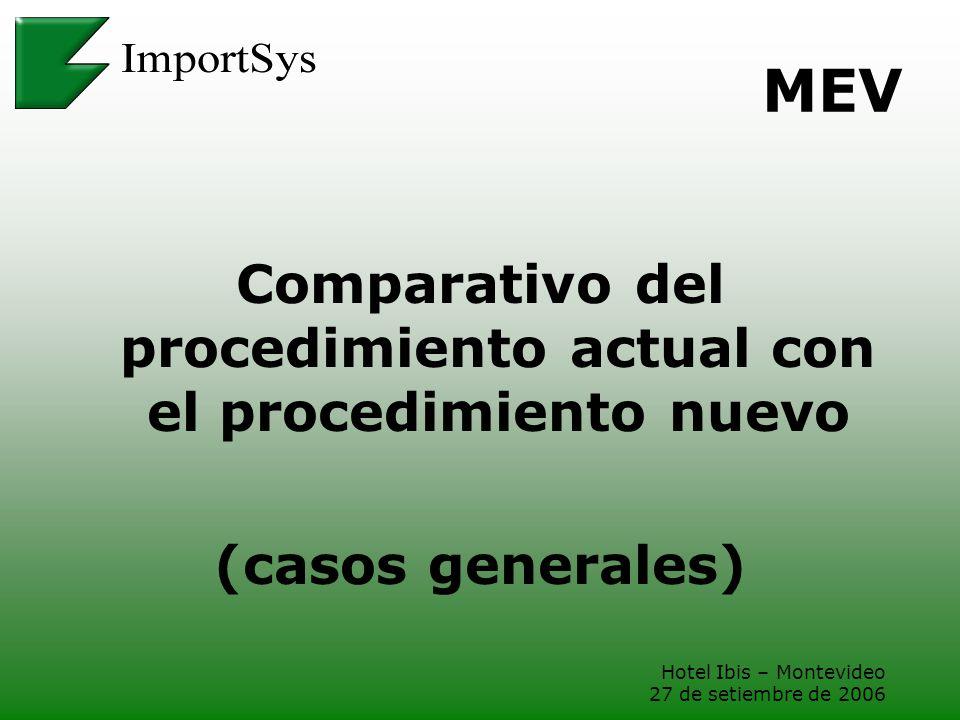 Hotel Ibis – Montevideo 27 de setiembre de 2006 MEV Comparativo del procedimiento actual con el procedimiento nuevo (casos generales)