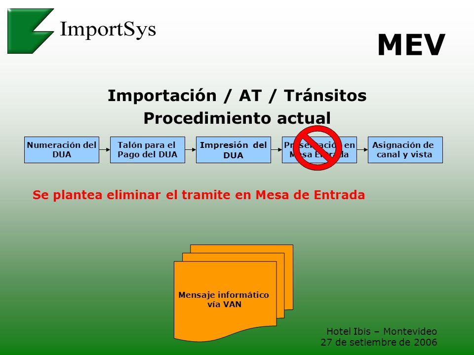 Hotel Ibis – Montevideo 27 de setiembre de 2006 MEV Importación / AT / Tránsitos Procedimiento actual Numeración del DUA Asignación de canal y vista T